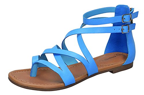Breckelle's RB65 Strappy Women's Gladiator Thong Flat Sandals- Casual Dress Low Flat Heel- Ankle Strap Cut Out Shoe (6 B(M) US, Blue)