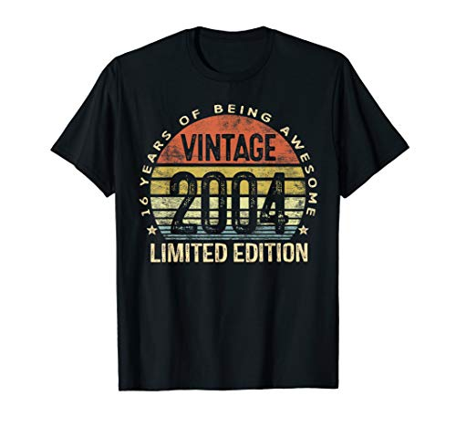 16 Year Old Gifts Vintage 2004 Limited Edition 16th Birthday T-Shirt