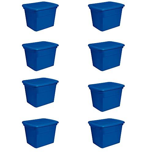 Sterilite 18 Gallon Plastic Stackable Storage Tote Container Box, Blue (8 Pack)