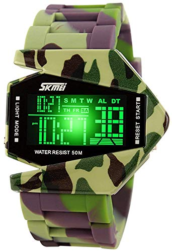 Gosasa Men Sports Military Watches Digital Airplane Shaped LED Colorful Light Watches (Camo Green)
