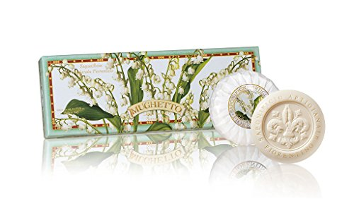 Saponificio Artigianale Fiorentino, Sapone vegetale profumato con mughetto, Confezione da 3 saponi, 3 x 100 grammi