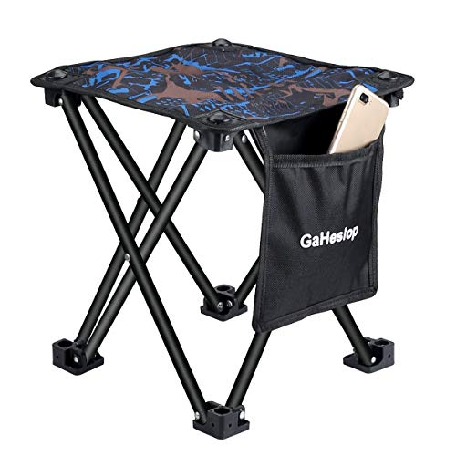 GaHeslop Small Camping Stool, Fishing Travel Outdoor Folding Stool, Portable Stool for Camping Walking Hunting Hiking Picnic Garden BBQ, 600D Oxford Cloth Slacker Stool Holds Up 330lbs with Carry Bag