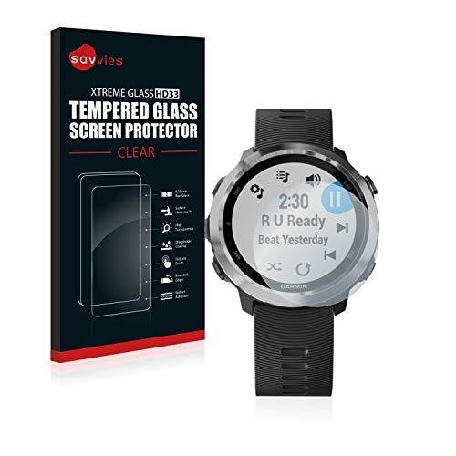 savvies Pellicola Vetro Temperato Compatibile con Garmin Forerunner 645/645 Music Protezione, Schermo Protettivo, Glass Durezza 9H