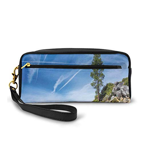 Pencil Case Pen Bag Pouch Stationary,Clear Dreamy Sky Over Inland Creek Surrounded By Land Liquid Surface Of Earth Print,Small Makeup Bag Coin Purse