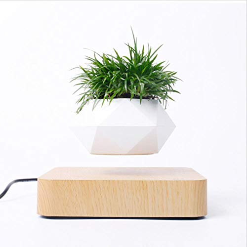 zwbaobei Levitating Air Bonsai Pot Rotation Flower Pot Planters Magnetic Suspension Floating Pot Potted Plant Home,Yellow,China
