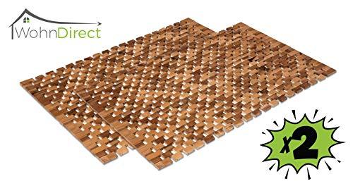 2X Badvorleger Holz | rutschfeste Badematte | Robuste Holzmatte für Badezimmer - Sauna & Wellnessbereich - Badteppich aus 100% Akazienholz – 50x80 cm