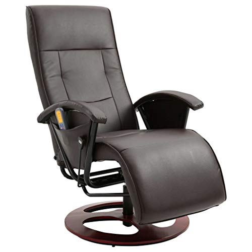 vidaXL Massagesessel Elektrisch mit Massage Taillenheizung Relaxsessel Fernsehsessel TV Sessel Relaxliege Ruhesessel Liegesessel Braun Kunstleder