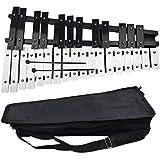 (BDGAFA)折り畳み式 卓上 鉄琴 30音 収納ケース付き 折り畳み 卓上 マレット2本 収納ケース付 黒 白 鍵盤