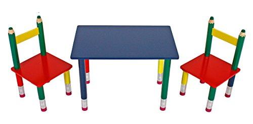 Unbekannt VARILANDO 3-teilige Tischgruppe für Kinder Bleistift Kindertischgruppe Kindersitzgruppe Sitzgruppe Kindermöbel Kinderzimmer