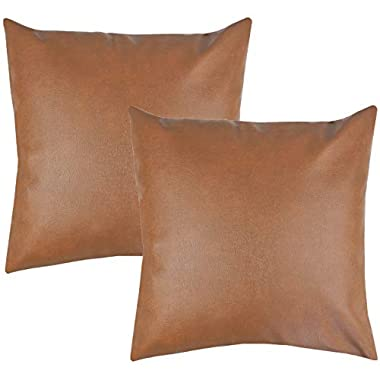 Woven Nook Decorative Throw Pillow Covers ONLY for Couch, Sofa, or Bed Set of 2 18 x 18 inch Modern Quality Design 100% Faux Leather Milo