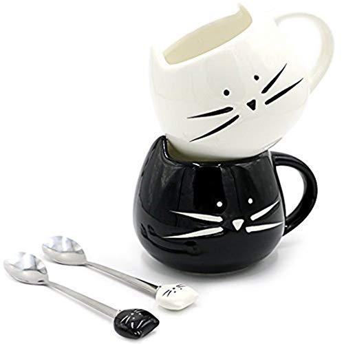 Niedliche Katzentasse aus Keramik für Frauen, Mädchen, Katzenliebhaber, lustige kleine Tasse mit Löffel, 340 ml (1 Stück) (schwarz)