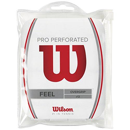 Wilson Grip WRZ4006WH Impugnatura Pro Overgrip Perforated, Unisex, Bianco, 12 Unità