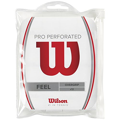 Wilson Pro Overgrip Perforated Overgrips Raqueta-Unisex, Blanco, NS