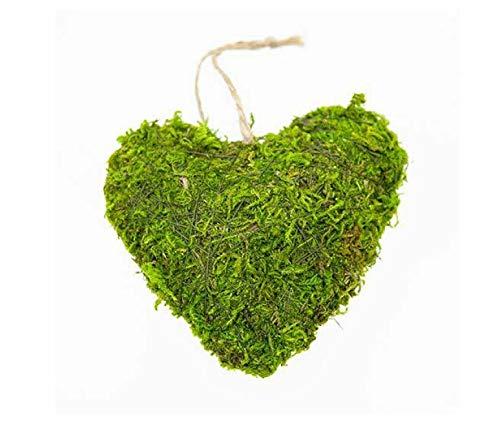 8 STK MOOSHERZ 10cm Naturdeko Gastgeschenk Hochzeit Tischdeko Moos Herzen grüne Dekoherzen Islandmoos Dekomoos Mitbringsel Hochzeitsdeko