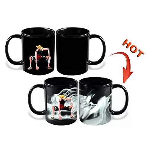 lunanana Anime One Piece Kaffeebecher, Monkey D. Luffy Portrait von Piraten Farbwechsel-Wasserflasche, Keramik, heiß, wärmeempfindlich, magische Tasse
