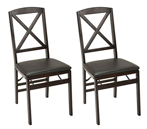 Cosco Wood Folding Chair with vinyl seat & X-Back, 2 pack, Espresso