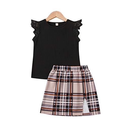 Conjunto de ropa de verano de 2 piezas para bebé, cuello redondo, volantes volantes, camiseta de manga corta + falda a cuadros con línea A para niñas de 1 a 6 años Negro 5-6 Años