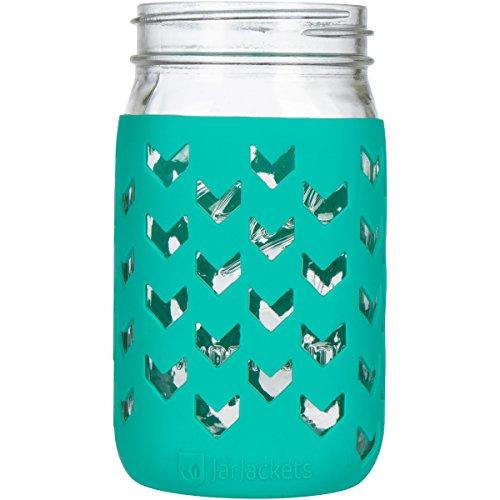 JarJackets Silicone Mason Jar Sleeve - Fits 32oz (1 quart) WIDE-Mouth Jars … (1, Lagoon)