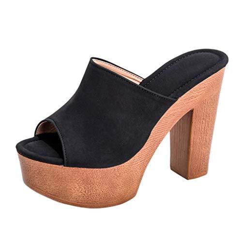 HUADUO Mujer Punta Abierta Correas Dobles Tacones Gruesos Tacones Altos Slip on Slide Sandals Mulas Zapatos Correas Sandalias by