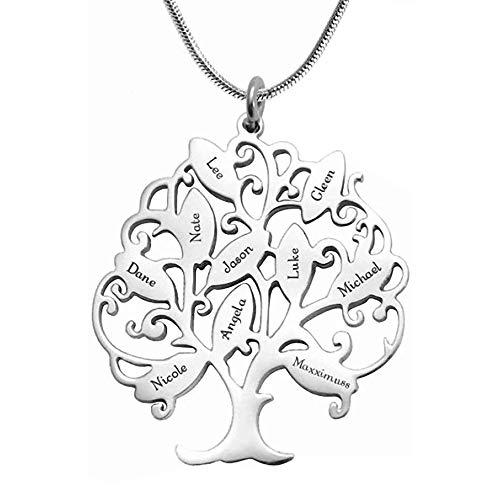 Namenskette Baum Kette mit Gravur 1 bis 10 Namen Familiennamen Halskette Lebensbaum Personalisiert Stammbaum Name Halskette für Mutter Mama Oma, 925 Sterling Silber/Gold/Rose Gold