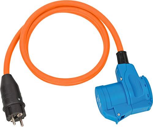 Brennenstuhl Camping CEE Adapterleitung mit Schutzkontakt-Stecker und CEE-Winkelkupplung inkl. Schutzkontakt-Steckdose (1,5m Kabel in orange, 230V/16A, Einsatz im Außenbereich, Made in Germany)