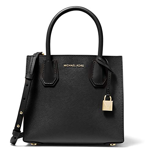 """100% Saffiano leather Center zip compartment, two open compartments, three front credit cord pockets Gold-tone protective metal feet and hardware, removable padlock icon Double handles, 4.25"""" drop; Removable adjustable strap, 24.5"""" drop 8.75""""W x 7.5""""..."""