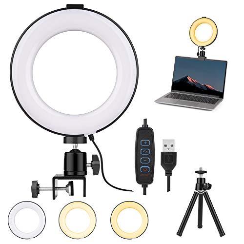 LED Ringlicht, 6 Zoll Ringlicht mit Stativ, Dimmbare Ringlicht Laptop Videokonferenz Licht mit 3 Lichtfarben, Selfie Ringleuchte mit Stativ Klemmhalterung...