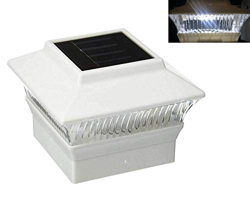 AFFORDABLE Outdoor Garden Set of 12 Solar Premium Heat-Resistant Plastic White Finish Color Fence Post Cap Light with White LED for 4