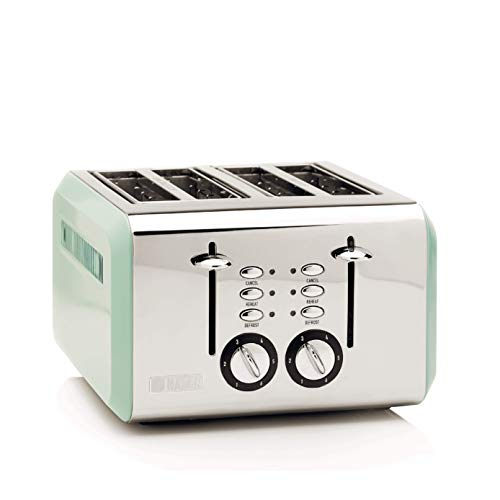 Haden Cotswold Toaster - Electric Stainless-Steel Toaster with Reheat and Defrost Functions - 1640-1960W, Four Slice, Sage - CE20