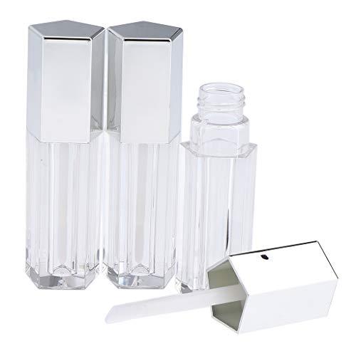 perfeclan 3x 5ml Vide Lip Gloss Tube Baume à Lèvres Bouteille Cosmétique Conteneur De Rouge À Lèvres - Argent