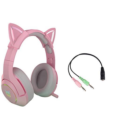 DYHF K9 Stereo Pink Gaming Headset mit Mikrofon für PS/Xbox One/PC/Telefon, Abnehmbarer kabelgebundener Cat Ear Over Ear-Kopfhörer mit HiFi 7.1-Kanal-Gaming-Musik-Headset für Computer und Notebooks