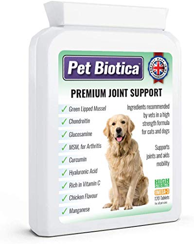Pet Biotica Premium Dog Joint Supplements, 120 Tablets with Green Lipped Mussel, Chondroitin, Glucosamine, MSM, Cucumin and more. All essential ingredients needed known to effectively work.