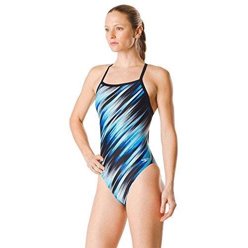 Speedo Women's Swimsuit One Piece PowerFlex Flyback Striped Adult Team Colors Reigning Speedo Blue, 28