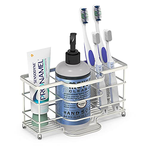 Linkidea Ventilated Toothbrush Holder for Bathroom, Stainless Steel Tooth Brush Stand for Toothbrush, Toothpaste, Razor, Hand Soap, Vanity Countertop 6 Slots Organizer (Brushed Nickel)