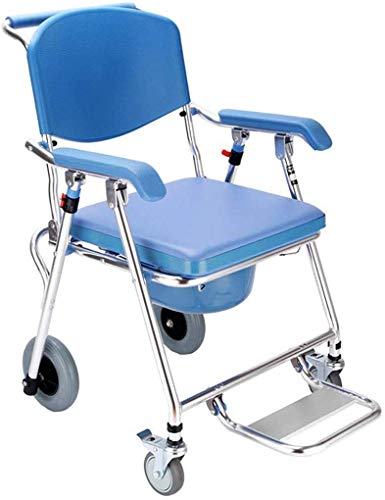 Best Deals! Nuokix Toilet Seat Wheelchair Folding Toilet Mobile Chair Shower Chair Elderly Toilet Ch...