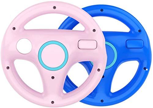 DOYO 2 Pack Supporto per volante Wii rosa e blu Design Controller Supporto per volante Mario Kart Racing per controller di gioco Wii