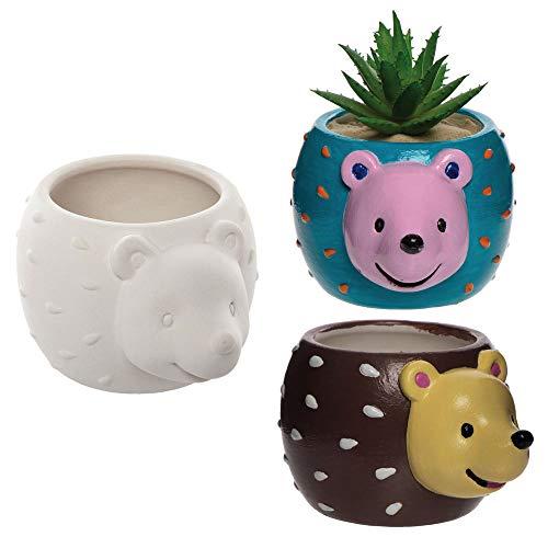 Baker Ross AX166 Igel Keramik Blumentöpfe - 2 Stück, Künstler- Und Bastelbedarf Für Kinder Zum Basteln Und Dekorieren Zur Winterszeit