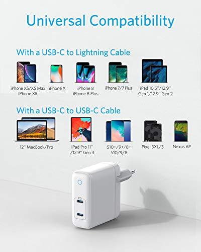 Anker PowerPort Atom PD 2, GaN Tech kompaktes Typ-C Wandladegerät, 60W 2-Port USB C Ladegerät mit Power Delivery für MacBook Pro / Air, iPad Pro, iPhone XR / XS / Max / X / 8, Pixel, Galaxy und mehr