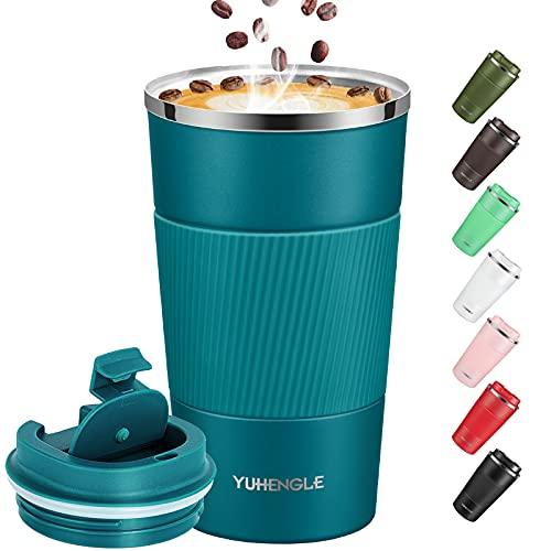 YUHENGLE Thermobecher-Isolierbecher, Edelstahl Travel Mug,18oz/510ml Vakuum auslaufsicher Reisebecher mit Deckel, Autobecher, doppelwandig isoliert für Kaffee, Wasser und Tee, Kaffee-to-go Becher