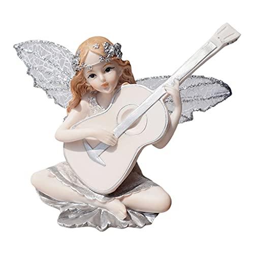 CAREMiLLE Tocando la Guitarra, música, niña, estatuas de ángel, Estatua de Resina,...