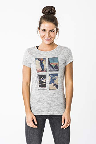 super.natural Damen W DIGITAL PRINT TEE Kurzarm T-shirt, Hellgrau/Alpine Collage, M