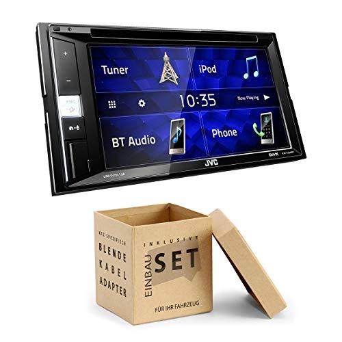 JVC KWV250 2-DIN DVD CD Receiver Bluetooth compatibel met Spotify geschikt voor Kia Sorento III, mit USB-Adapter, zwart