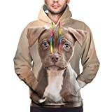 SHOUNENN American Pit Bull Terrier cute dog Unisex 3D printed hoodie pocket M