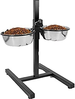 Naaz Pet Supplies Adjustable Stainless Steel Double Diner Stand Bowls Food Feeding Pet Dog Bowls (2800ml x 2),Color May Vary