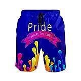 Mielpdaz Pantalones cortos de playa para hombre con texto en inglés 'Happy Pride Day', 1 color, XXL