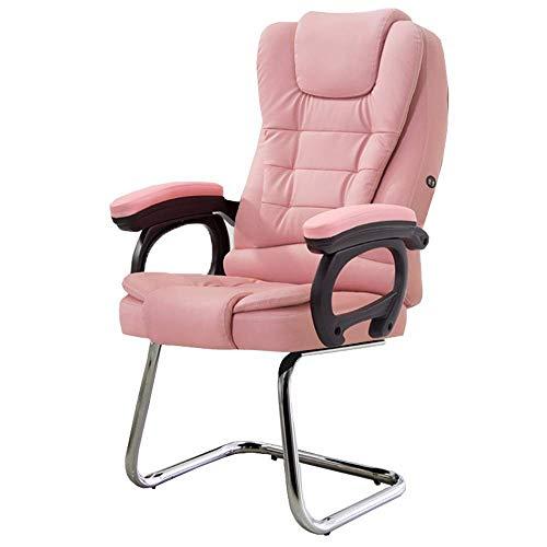 Silla de videojuego, silla de oficina, función de masaje perfecto apoyo lumbar, sofisticado, resistente, dimensiones totales, esponja de capacidad, acero, Pu -50671P8C0I (color: rosa)