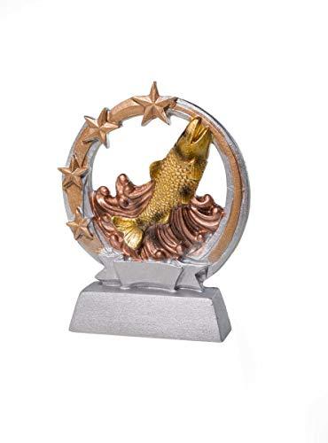 Henecka Angeln-Pokal, Angeln-Resinfigur Fisch, Silber mit Gold, mit Wunschgravur, Größe 12,5 cm