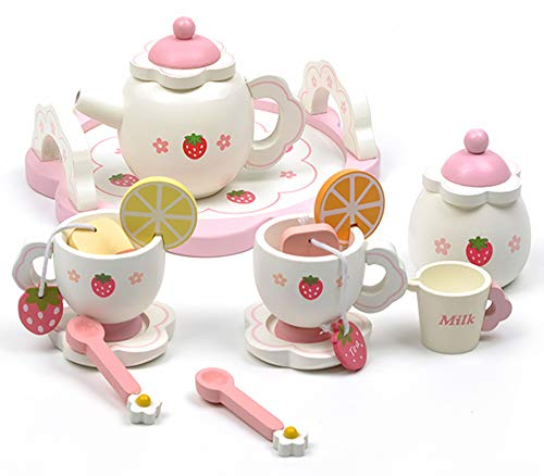 HenMerry Pink Toy Tea Set for Kids Girls, Pretend Play Food Kitchen Set Kids Learning & Education Wooden Strawberry Simulation Wooden Tea Set Toys,Best Birthday