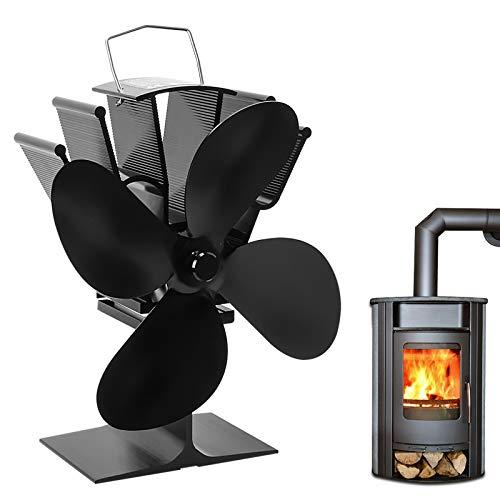 Kaminventilator, Qfun Ofenventilator Lüfter mit 4 Blättern Geräuscharmer Betrieb Hitzebetrieben für Holzofen Kamin