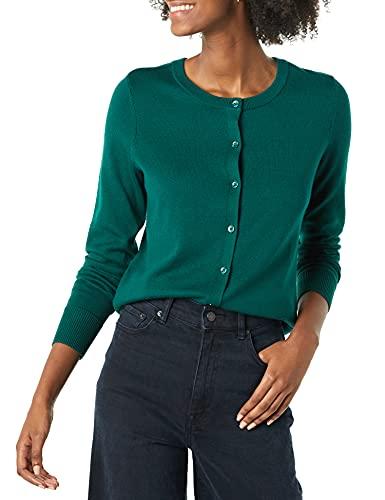 Amazon Essentials Women's Lightweight Crewneck Cardigan Sweater, Dark Green, Large